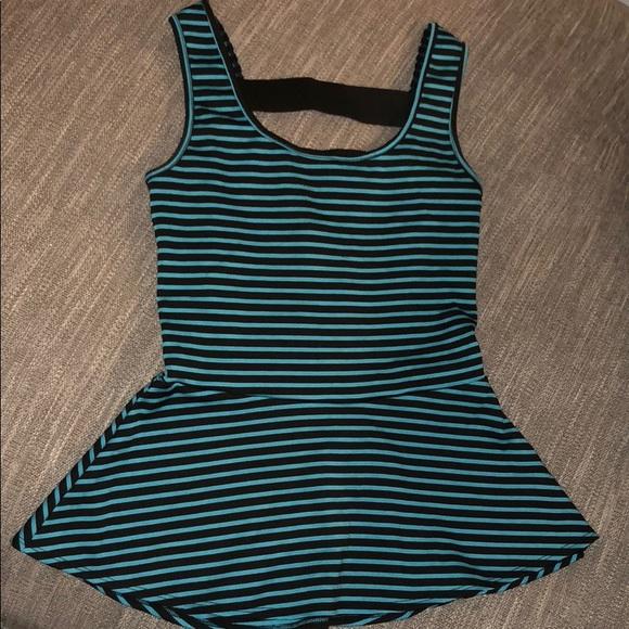 Studio Y Tops - Black & Teal Stripe Peplum Top